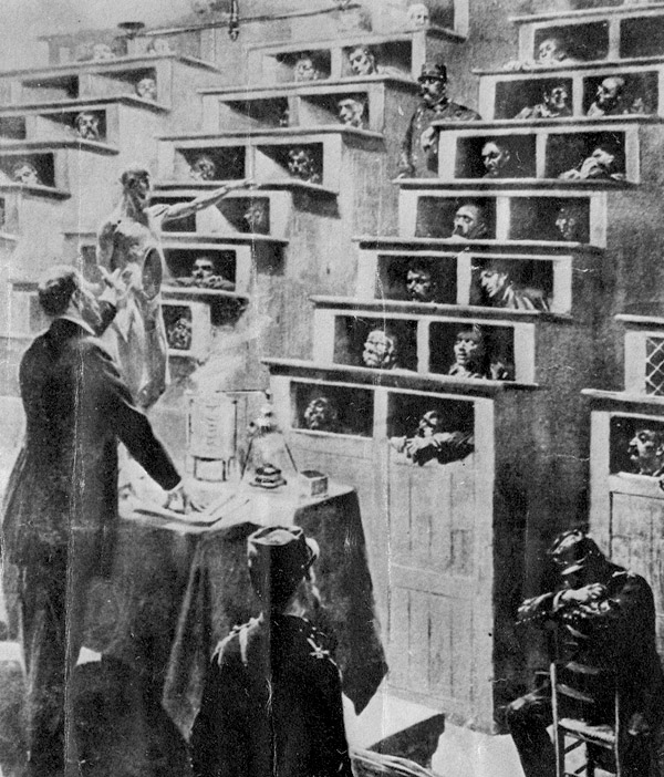 An image of a 19th century French prison where the prisoners are lectured to on the evils of alcoholism. The prisoners are in small body-sized boxed with a hole for their heads. They are stacked up. step-wise, in lecture hall-style.